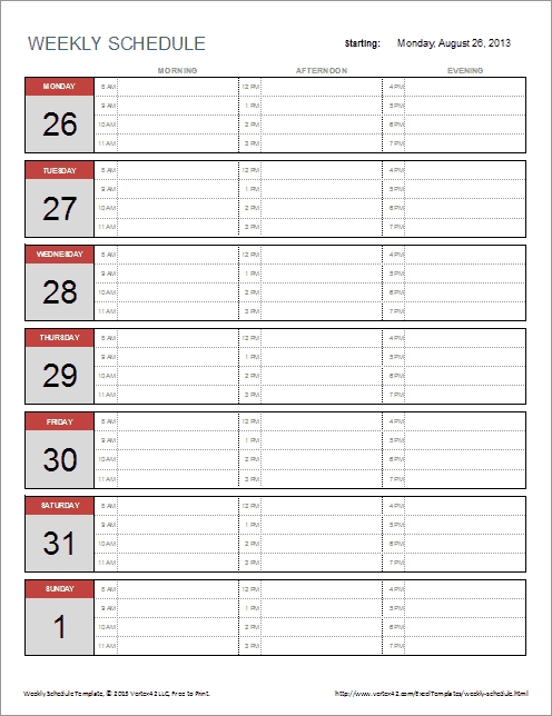 Weekly Schedule Templates For Excel And Pdf throughout Single Day Schedule Template Graphics