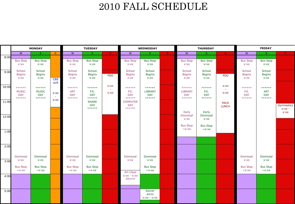 Wfmw: A Color Coded Weekly Schedule | The Meanest Momma for Color Coded Schedule Template Photo