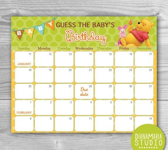 Winnie The Pooh Birthday Predictions - Printable Due Date regarding Guess The Due Date Calendar Template Image