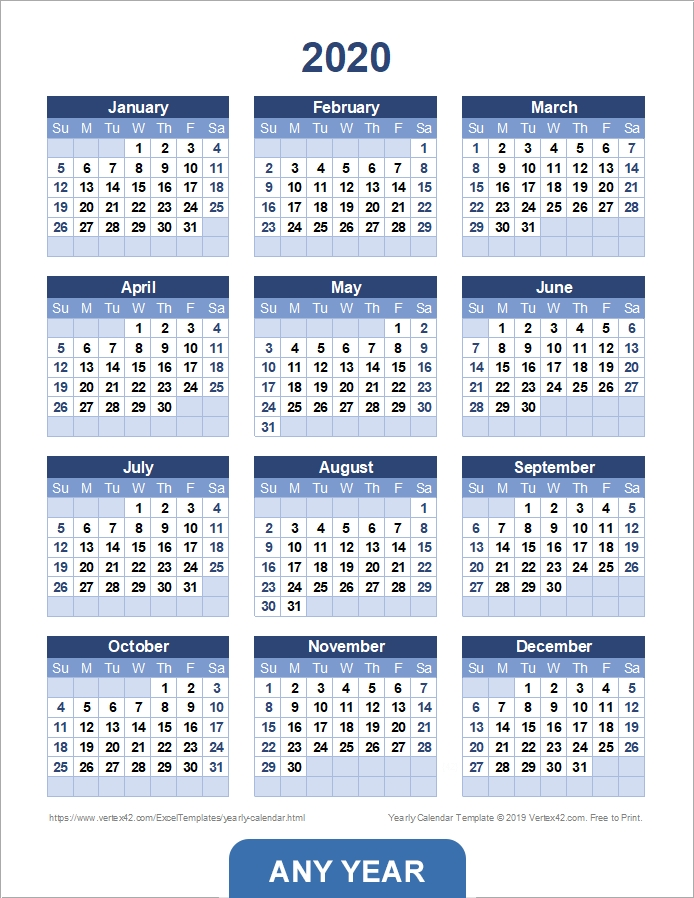 Yearly Calendar Template For 2020 And Beyond pertaining to Calendar Photo
