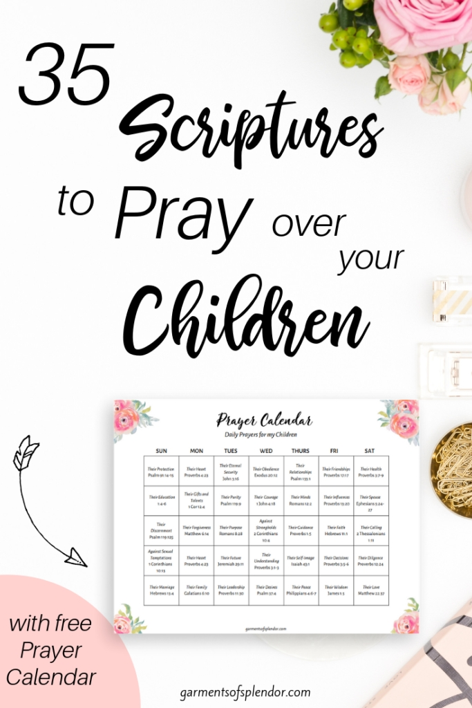35 Scriptures To Pray Over Your Children (With Free Prayer regarding Free Prayer Calendar With Scriptures Graphics