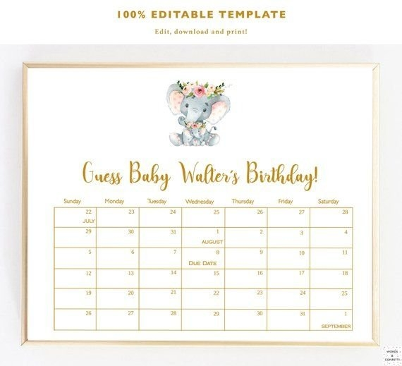 Due Date Calendar Elephant, Guess Baby Birthday Calendar for Guess The Baby Birthdate Calendar Template Graphics