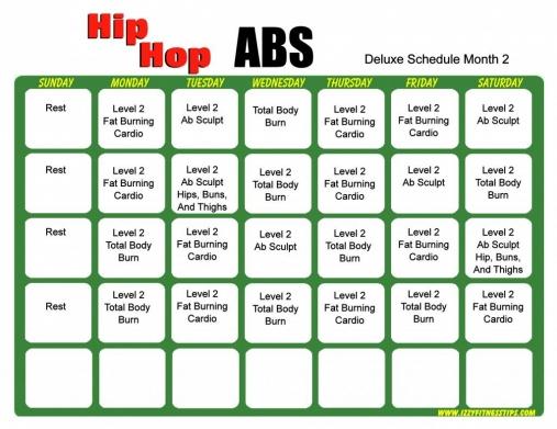 Hip Hop Abs Schedule Deluxe Month 2 #Hipflexor In 2020   Hip in Hip Hop Abs Level 2 Calendar