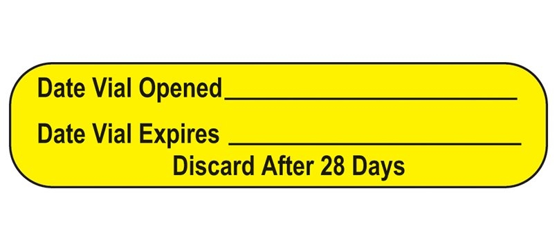Item 18619 - Date Vial Opened Labels intended for Free Multi-Dose Vial 28 Day Expiration Calculator