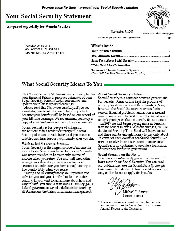 Making Sense Of Your Social Security Statement Sample throughout Social Security Award Letter Online