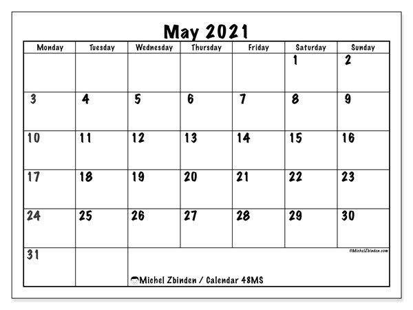 "Printable May 2021 ""48Ms"" Calendar - Michel Zbinden En with regard to Free Printable Monday Sunday Schedule Image"