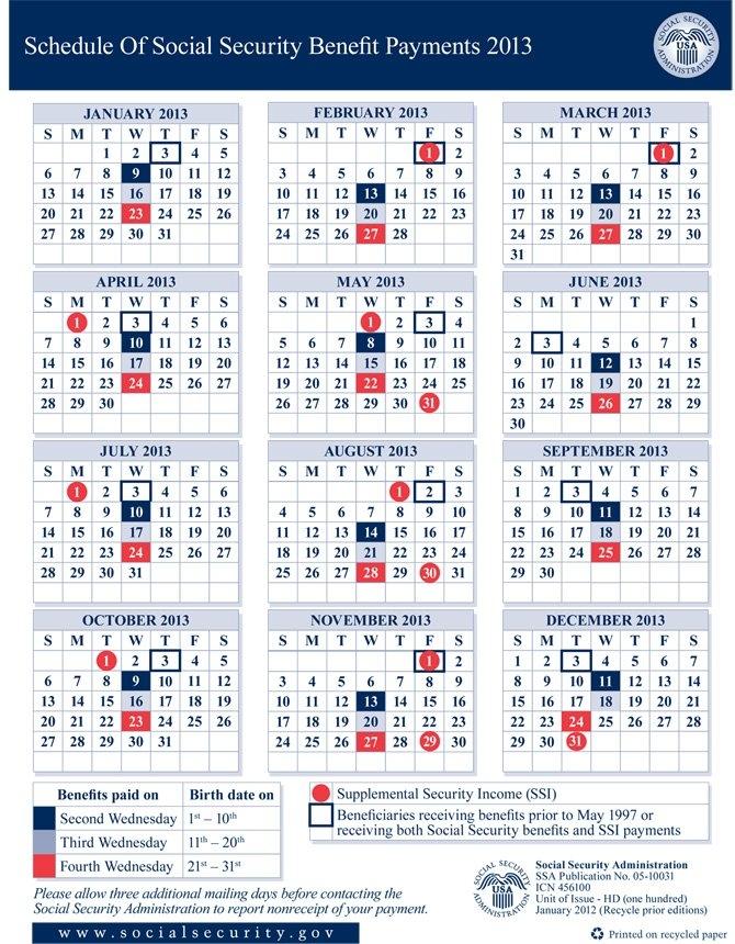 Social Security Disability Benefit Payment Calendar | Social in Social Security Calendar Payments