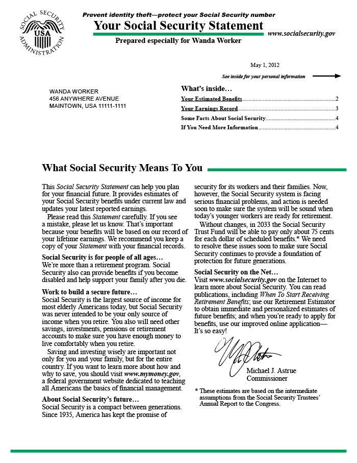 The Social Security Statement: Background, Implementation pertaining to Social Security Award Letter Online Photo