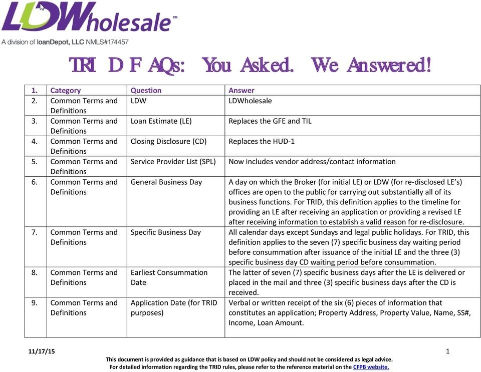 Trid Faqs: You Asked. We Answered! - Pdf Free Download throughout Trid Easy Calendar Photo
