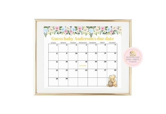 Winnie Pooh Printable Baby Due Date Game, Printable Baby within Guess The Baby Birthdate Calendar Template Graphics