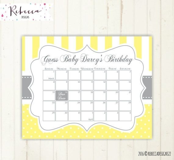 Yellow Guess The Due Date Calendar Guess The Date Baby for Guess The Baby Birthdate Calendar Template