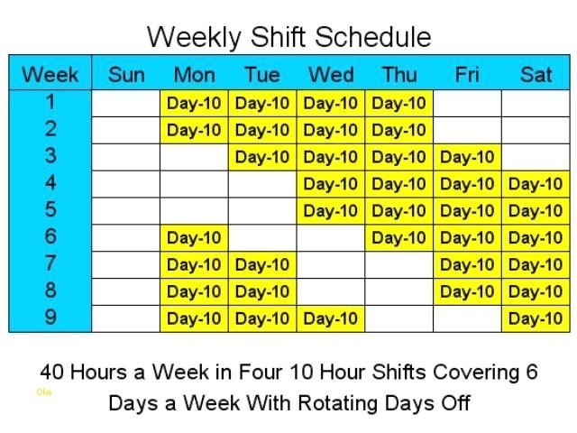 10 Hour Shift Schedule Templates Quotes | Shift Schedule with regard to Template For 10 Days Photo