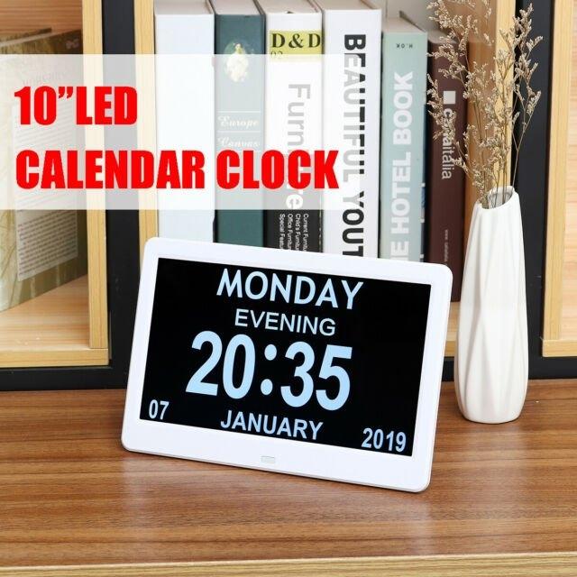 10'' Led Digital Calendar Alarm Day/Week/Month/Year Clock Dementia  Alzheimer ^ regarding Alzheimer'S Calendar Clock