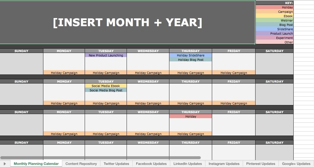 11 Social Media Calendars, Tools, & Templates To Plan Your throughout Content Marketing Calendar Template