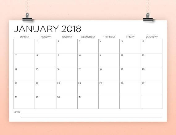 11 X 17 Inch 2018 Calendar Template | Instant Download in 11X17 Monthly Calendar Printable