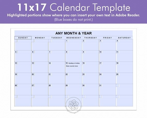 11X17 Calendar Template - Editable Landscape Calendar, Any Month, A3  Tabloid Ledger Paper, Large Printable Calendar, Fillable Pdf, Monthly pertaining to 11X17 Monthly Calendar Printable Photo