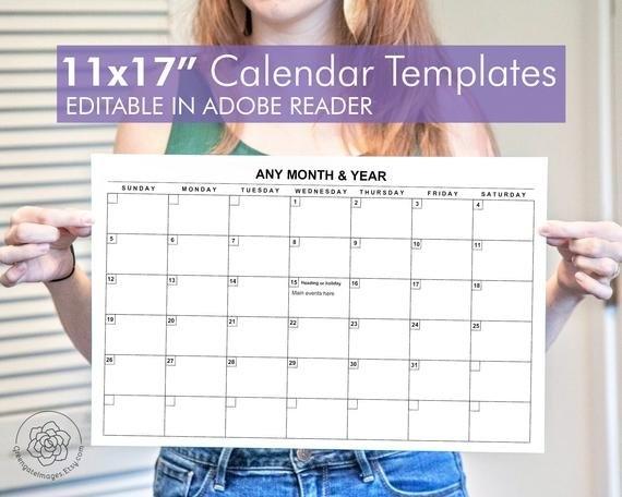 11X17 Calendar Template - Editable Landscape Calendar, Any Month, A3  Tabloid Ledger Paper, Large Printable Calendar, Fillable Pdf, Monthly with 11X17 Printable Monthly Calendar