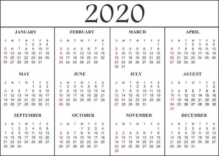 12 Month 2020 Calendar Template | Printable Calendar Pdf for 12 Month Printable Calendar Template