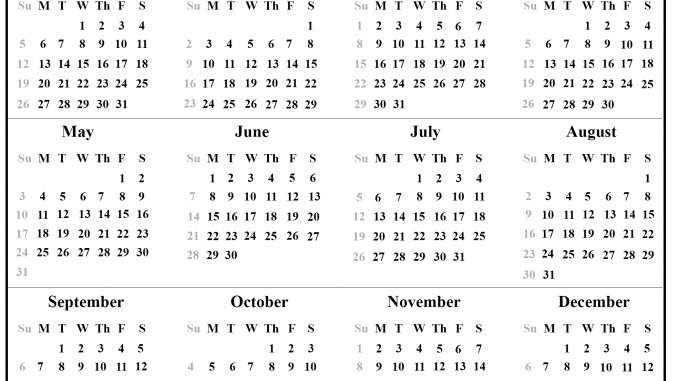 12 Month 2020 Printable Calendar Template One Page inside 12 Month Printable Calendar Template Graphics