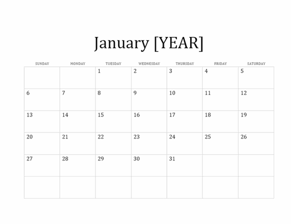 12-Month Basic Calendar (Any Year) in Microsoft Understated Calendar Template