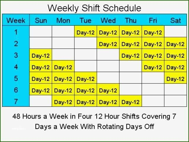 13 Foolproof 4 10 Hour Days Schedule Template | Shift for Template For 10 Days