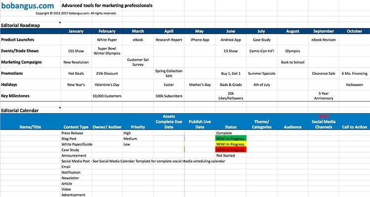 15 Content Calendar Templates To Help Your Content Strategy throughout Content Marketing Calendar Template Photo