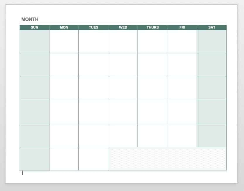 15 Free Monthly Calendar Templates   Smartsheet in Monthly Calendar Weekdays Only Photo