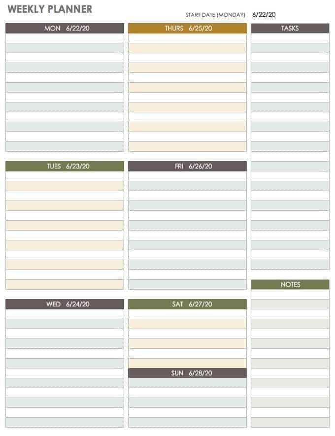 15 Free Weekly Calendar Templates   Smartsheet pertaining to Online Blank Weekly Calendar Image