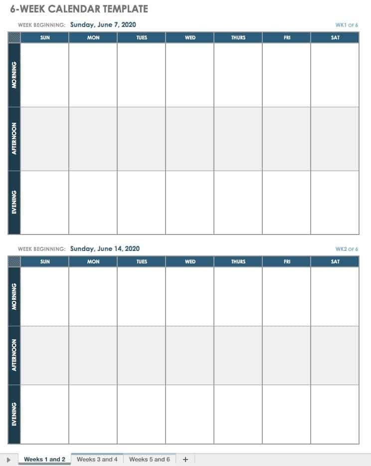 15 Free Weekly Calendar Templates   Smartsheet with regard to Online Blank Weekly Calendar Image