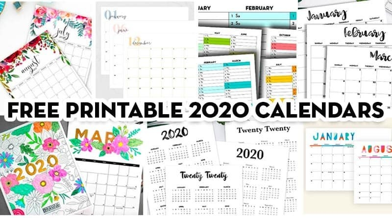 20 Free Printable 2020 Calendars - Lovely Planner intended for Free Printable Short Timers Calendar