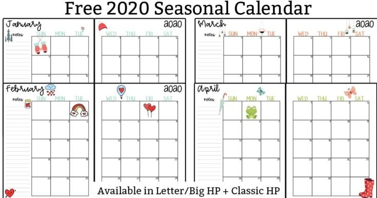 20 Free Printable 2020 Calendars - Lovely Planner pertaining to Large Block Printable Monthly Calendar Free Photo