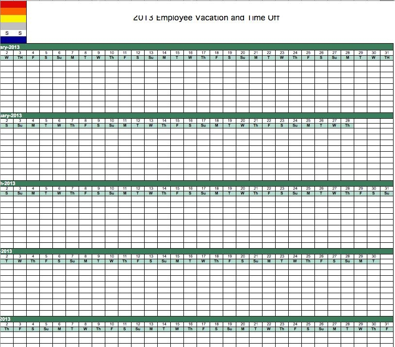 2013 Employee Vacation Tracking Calendar Template inside Time Off Calendar Template Graphics