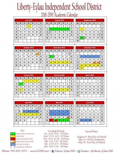 2018-2019 Calendar | Academic Calendar, Social Skills with Liberty Academic Calebdar