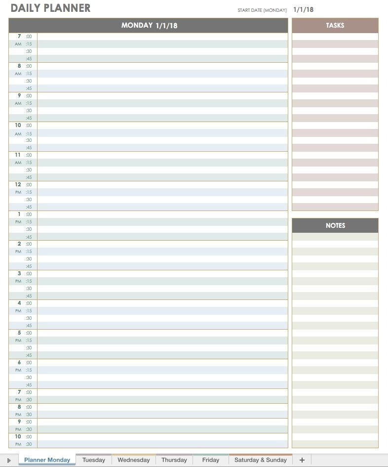 2018 Daily Planner Template | Daily Calendar Template, Day with Single Day Calendar Page Template Graphics