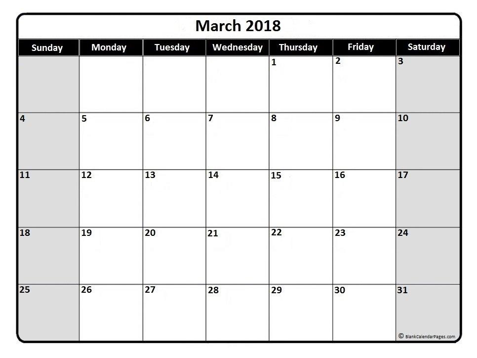 2018 March Calendars   Print Blank Calendars regarding Calendar Without Weekend
