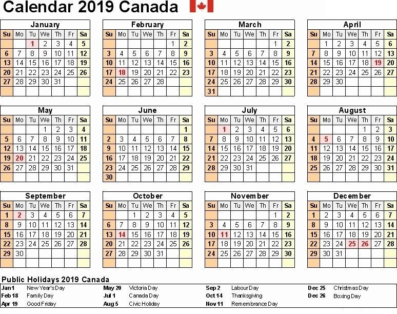 2019 Canada Calendar With Holidays | Calendar, Holiday regarding Multi Dose 28 Day Calendar August Photo
