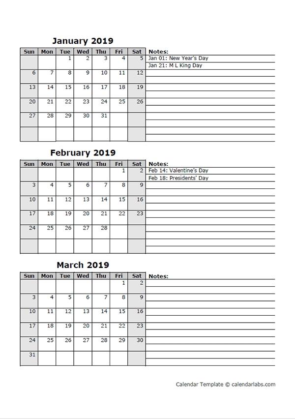 2019 Three Month Calendar Template - Free Printable Templates regarding 3 Month Calendar