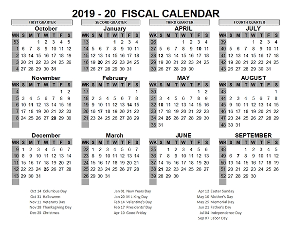 2019 Us Fiscal Year Template - Free Printable Templates throughout Free Printable Fiscal Calendars