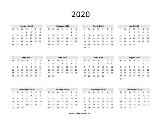 2020 Calendar - Free Printable - Allfreeprintable intended for 2020 Calendar Free Printable