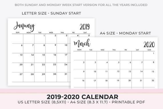 2020 Calendar Printable , 2019-2020 Calendar Template , Monthly Calendar,  2019 Monthly Planner , Instant Download in 11 X 17 Lank Calendar Image