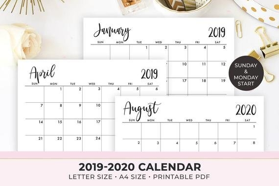 2020 Calendar Printable , 2019-2020 Calendar Template , Monthly Calendar,  2019 Monthly Planner , Instant Download throughout 11 X 17 Lank Calendar