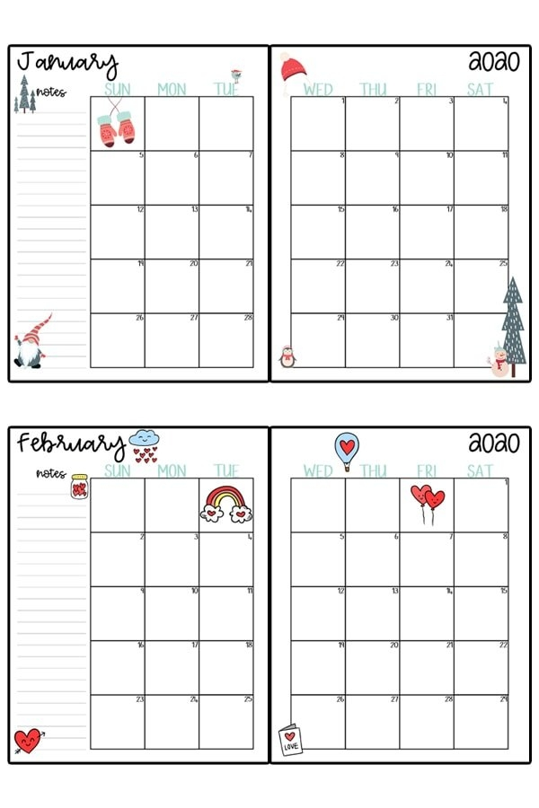 2020 Calendar Printable - Free Printable 2020 Monthly Calendar with regard to Editable Monthly Calendars Teachr At Heart Image