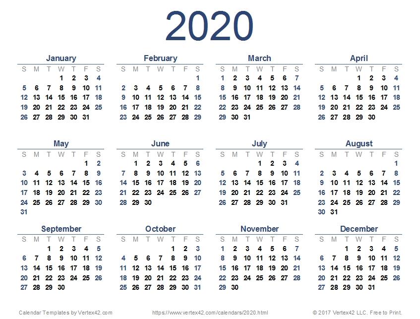 2020 Calendar (Printable Pdf) | Yearly Calendar Template regarding 2020 Calendar Free Printable