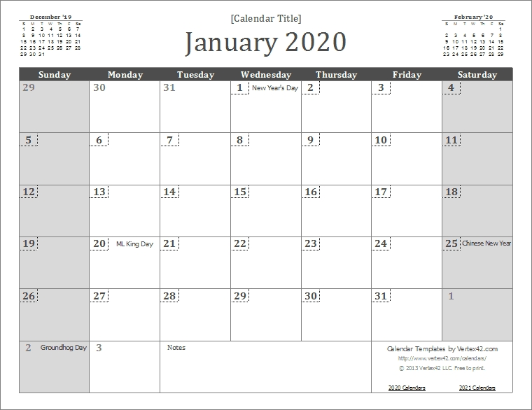 2020 Calendar Templates And Images in 2020 Monthly Calendar Template Word