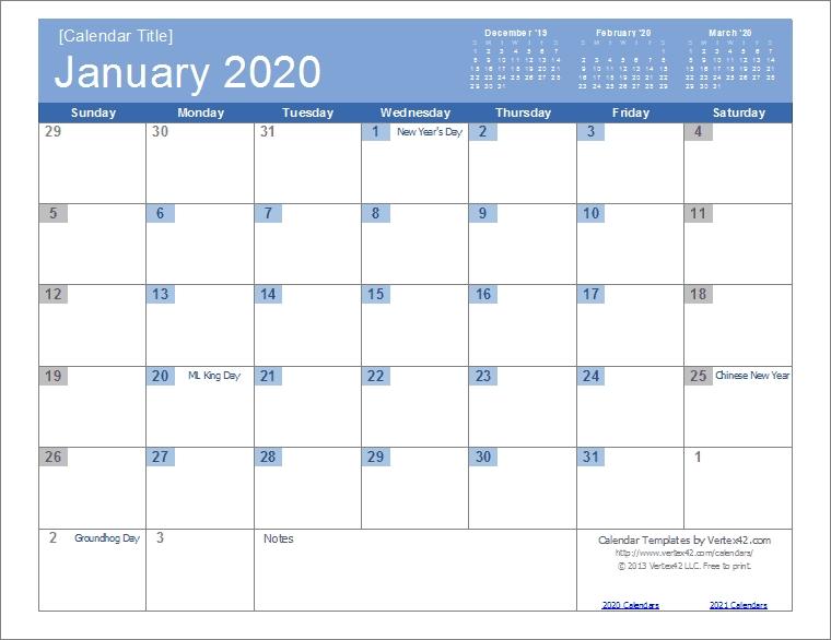 2020 Calendar Templates And Images regarding Microsoft Calendar Template 2020 Image