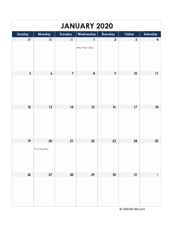 2020 Excel Monthly Calendar Template - Free Printable Templates intended for 2020 Monthly Calendar Template Word Photo