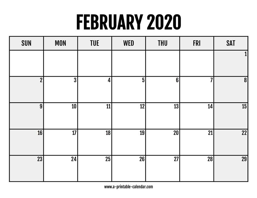 2020 February Calendar Printable inside 8.5X 10 Free February Blank Calendar