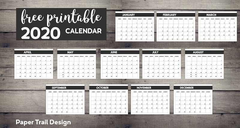 2020 Free Monthly Calendar Template | Paper Trail Design for Blank Free Printable 8.5 X 11 Calendars Graphics
