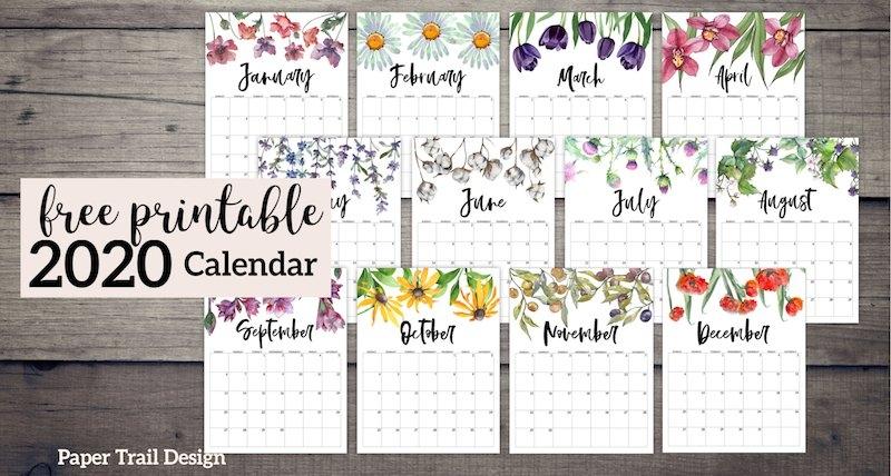 2020 Free Printable Calendar - Floral | Paper Trail Design regarding August Calendar Printable With Border Photo