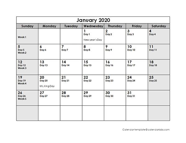 2020 Julian Calendar - Free Printable Templates throughout Free 10 Day Calendar